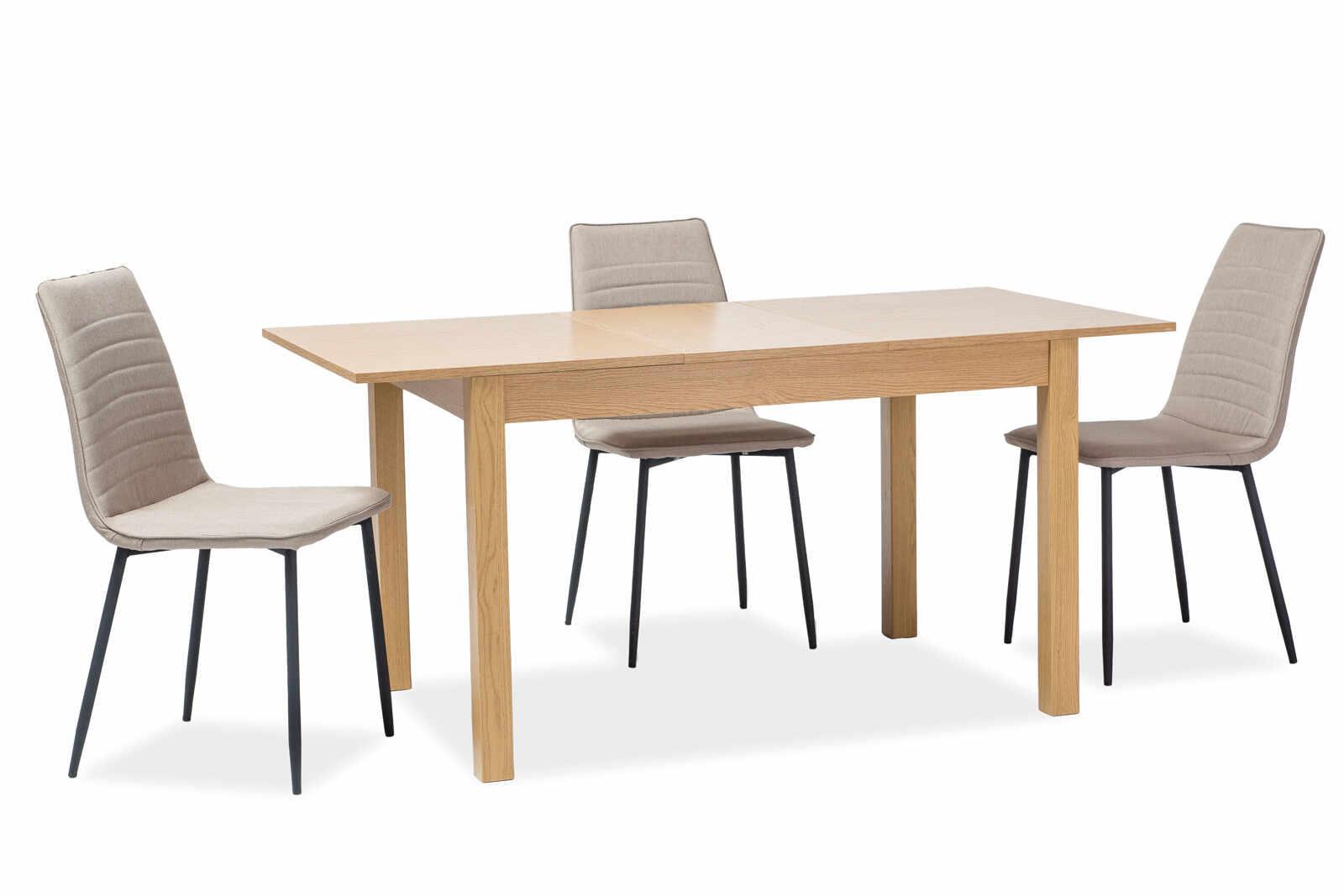 Set masa extensibila din pal si MDF Prism Oak + 4 scaune tapitate Tomas Beige, L120-160xl80xH75 cm la pret 1573 lei