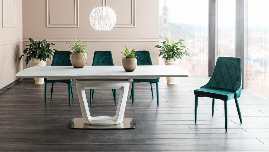 Set masa extensibila din sticla si MDF Claudio II White + 4 scaune tapitate Trix Velvet Green, L160-220xl90xH76 cm la pret 4784 lei