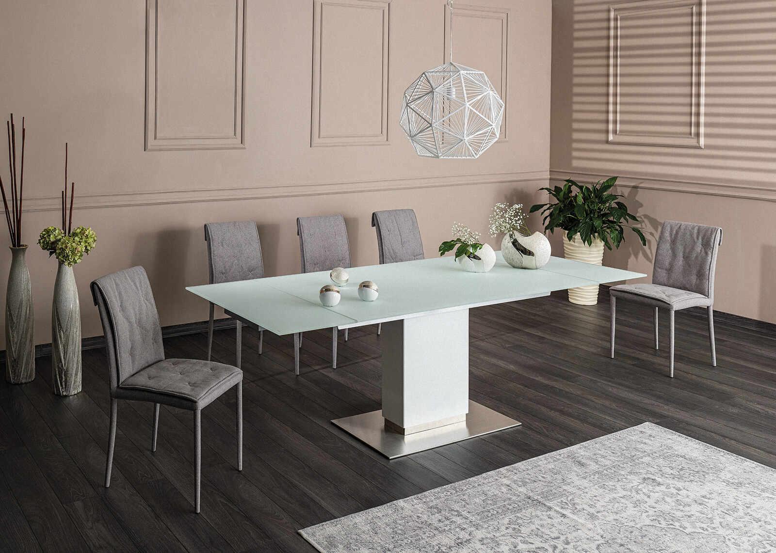 Set masa extensibila din sticla si MDF Horizon White + 6 scaune tapitate Nido Grey, L160-240xl90xH76 cm la pret 6074 lei