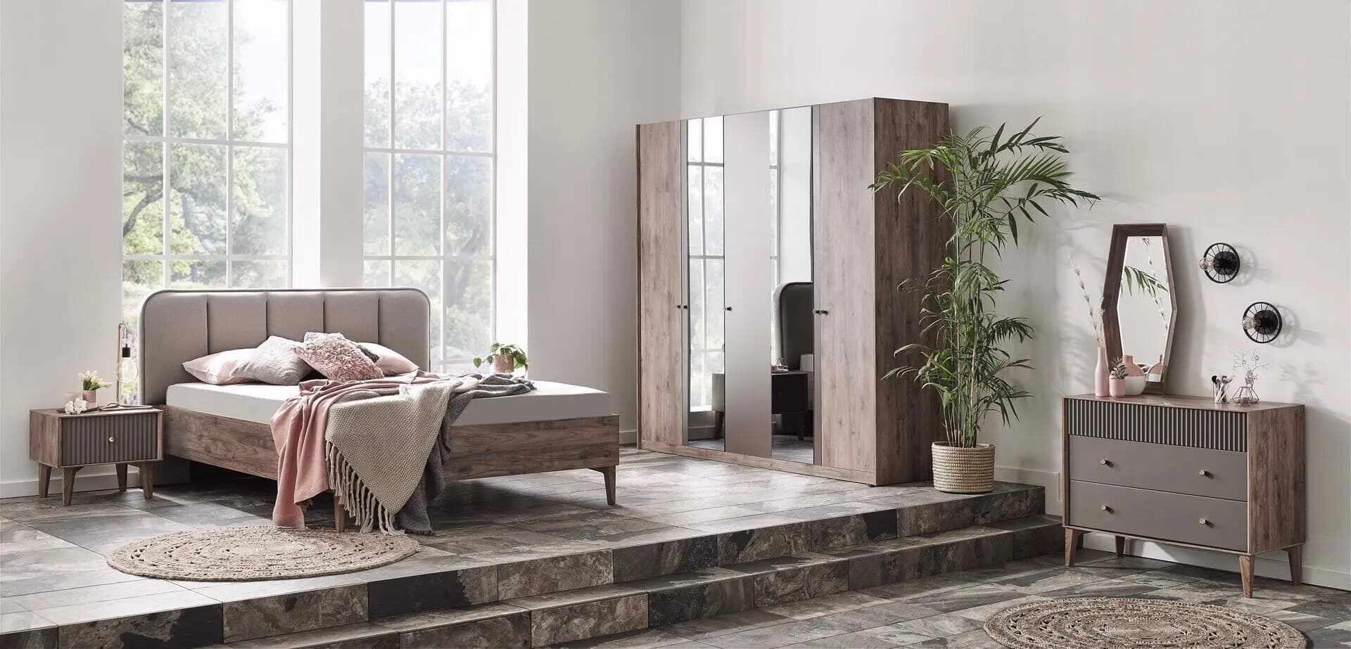 Set Mobila Dormitor din pal, cu pat 200 x 180 cm, 6 piese Elita Natural / Grej la pret 9341 lei