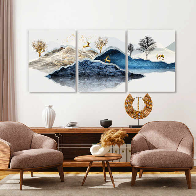 Set tablouri canvas - Blue misty mountains