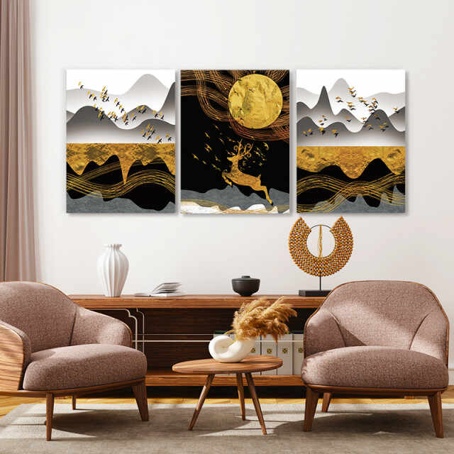 Set tablouri canvas - Golden abstract autumn