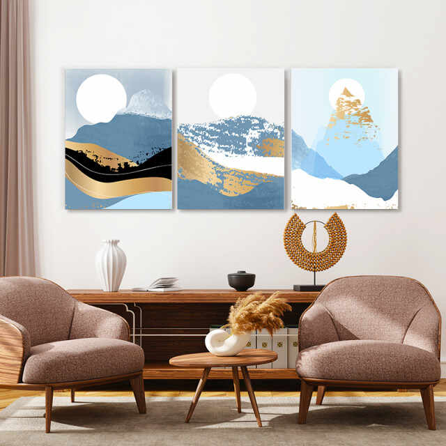 Set tablouri canvas - Golden abstract winter