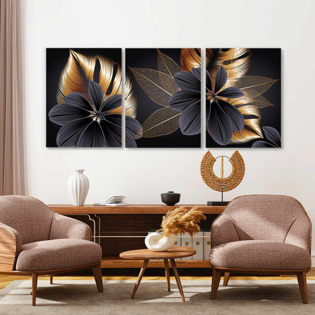 Set tablouri canvas - Golden and grey exotic flowers