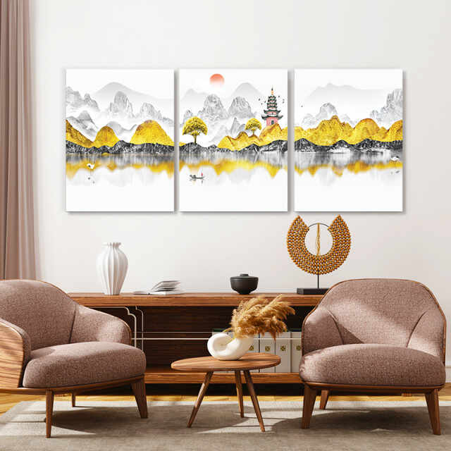 Set tablouri canvas - Golden chinese landscape