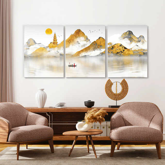 Set tablouri canvas - Golden chinese painting