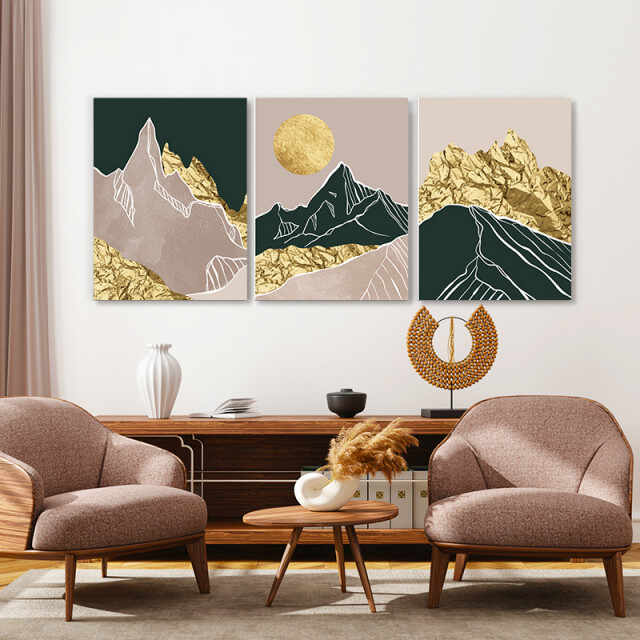 Set tablouri canvas - Golden foil abstract mountains