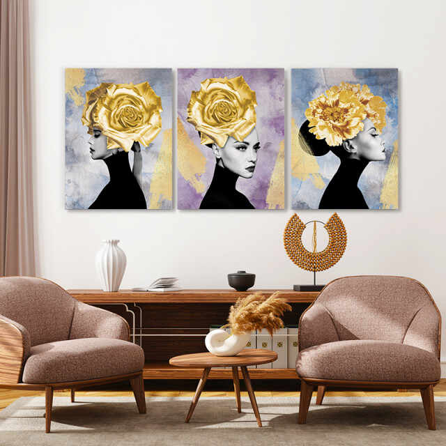 Set tablouri canvas - Hidden Golden Lady
