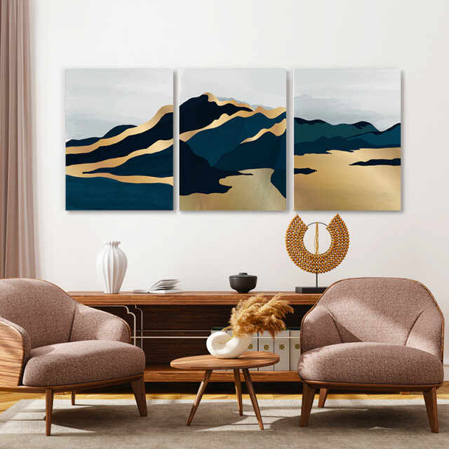 Set tablouri canvas - Lunar Golden Landscape