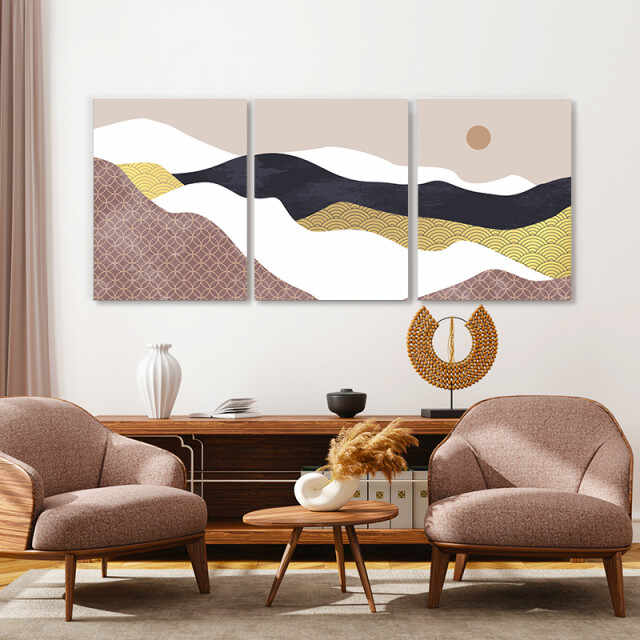 Set tablouri canvas - Moon above the abstract desert