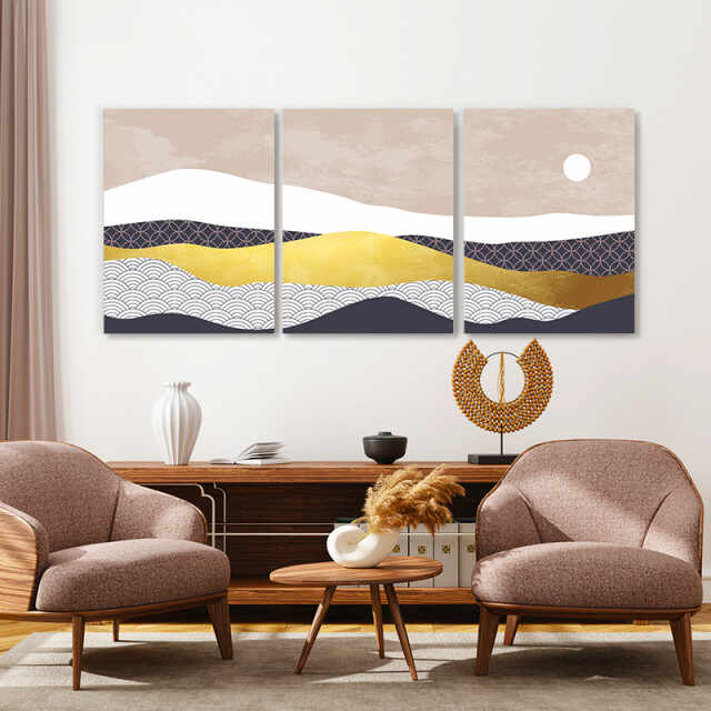 Set tablouri canvas - Sun above the abstract desert