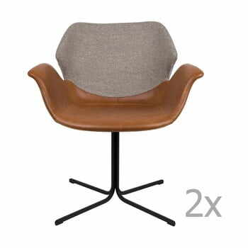 Set 2 scaune cu cotiere Zuiver Nikki, maro - gri la pret 2661 lei