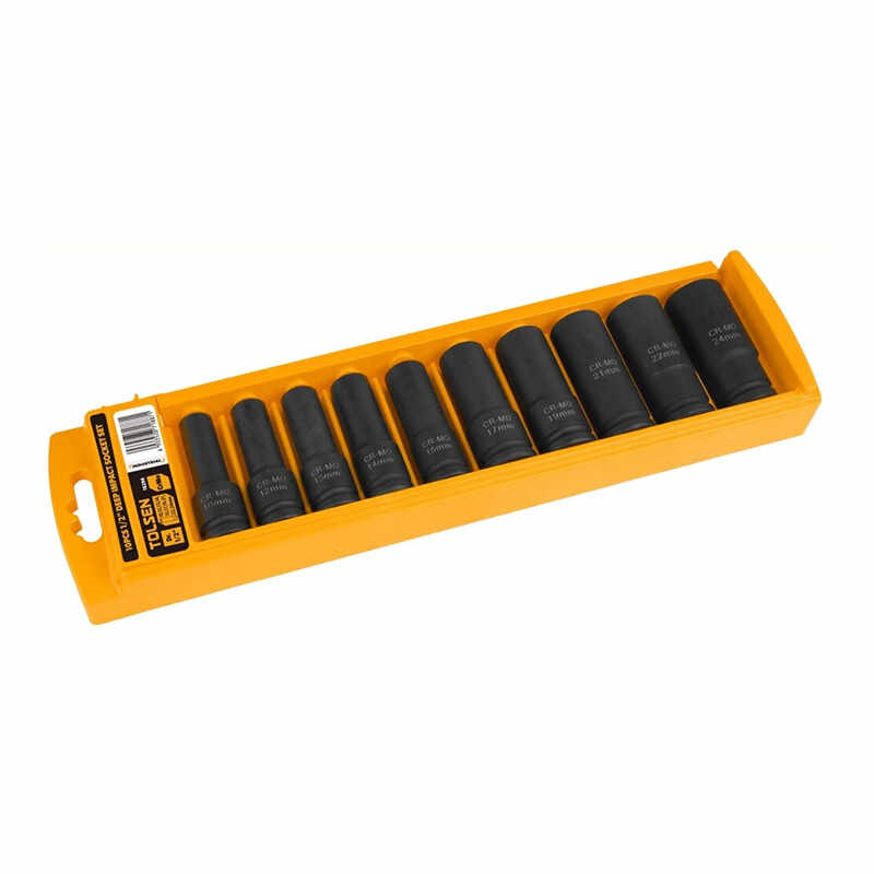 Set 10 chei tubulare lungi pentru impact Tolsen, 10-24 mm, 1/2 inch, otel crom-molibden la pret 156 lei