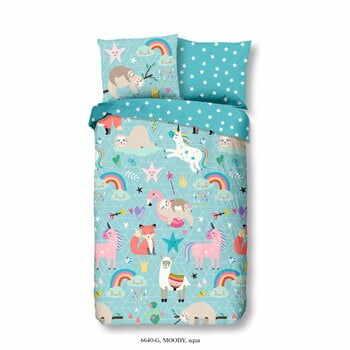 Lenjerie de pat din bumbac pentru copii Good Morning Rainbow, 140 x 200 cm, albastru la pret 194 lei