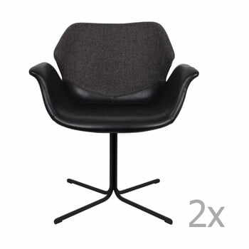 Set 2 scaune cu cotiere Zuiver Nikki, negru - gri la pret 2661 lei