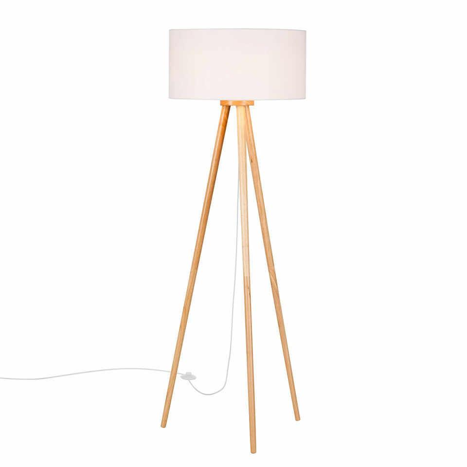 Lampadar Stabilo, lemn masiv/textil, alb/maro, 50 x 150 cm, 40w la pret 450 lei