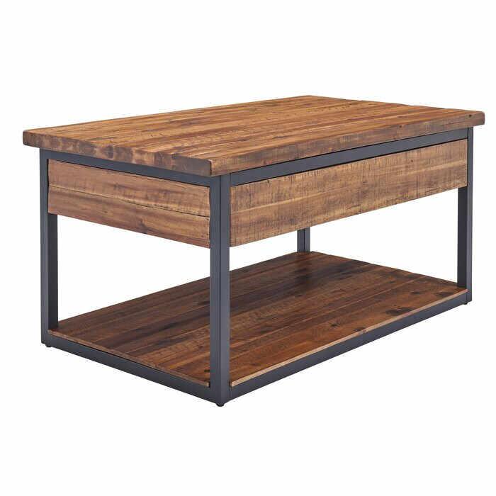 Masă de cafea Vanna, lemn masiv de salcam, negru/maro, 50,8 x 106,68 x 66,69 cm la pret 980 lei