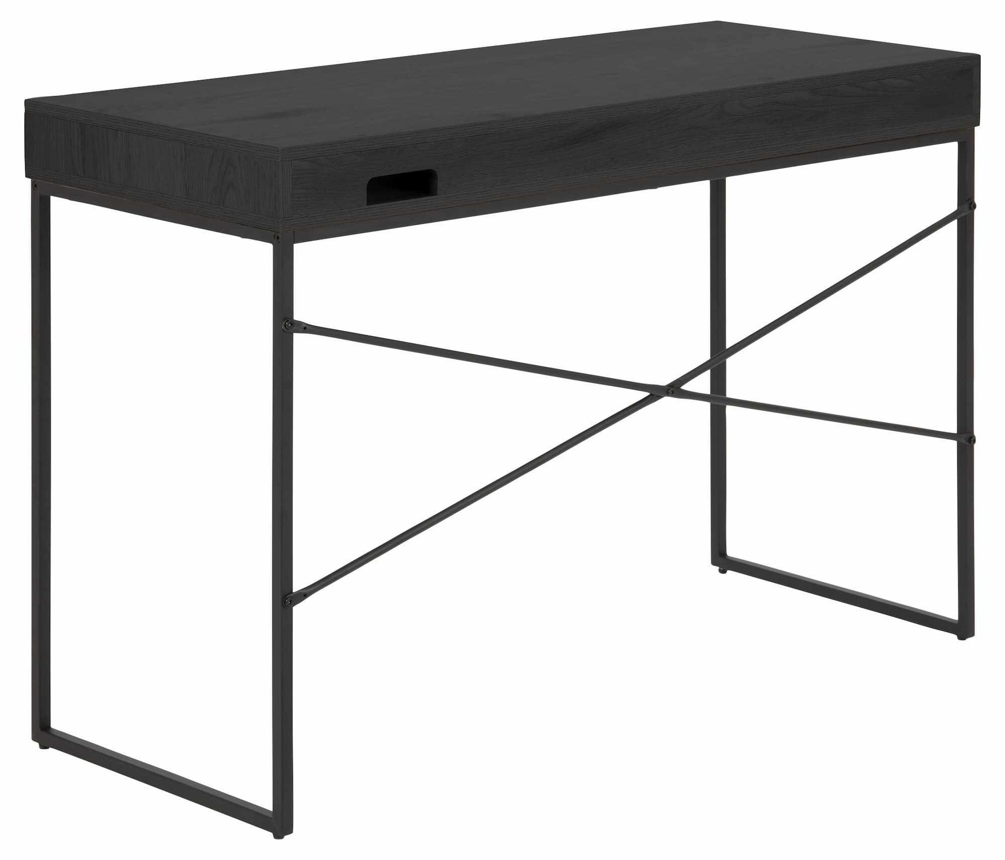 Masa de birou din pal si metal cu 1 sertar Seaford Grafit / Negru, L110xl45xH75 cm la pret 580 lei