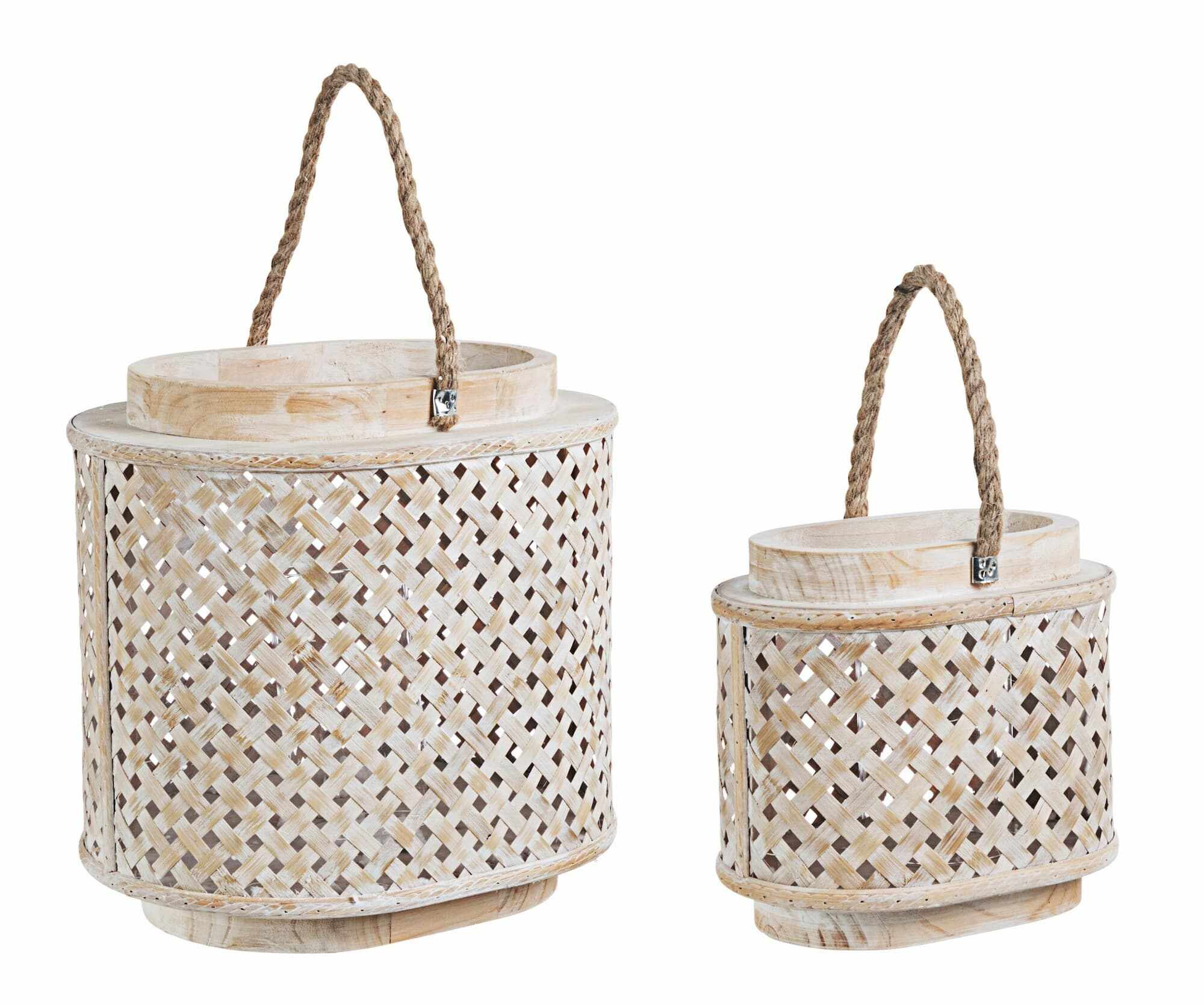Set 2 felinare decorative din lemn de brad si bambus Intrex Oval Natural, L31xl24xH31 cm / L21xl14xH20 cm la pret 214 lei