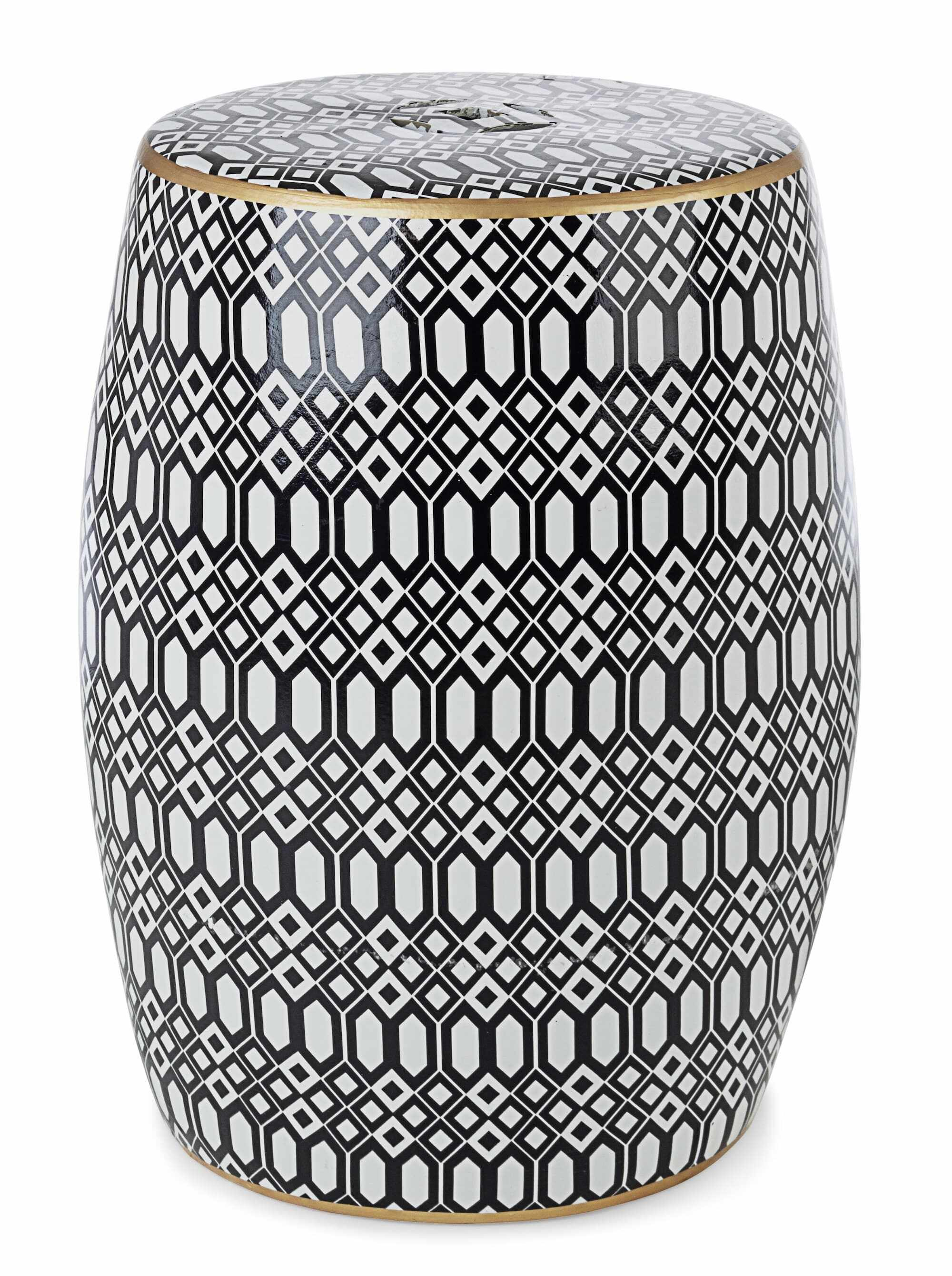 Taburet din ceramica Sfinge Arabic Alb / Negru, Ø33xH46 cm la pret 473 lei