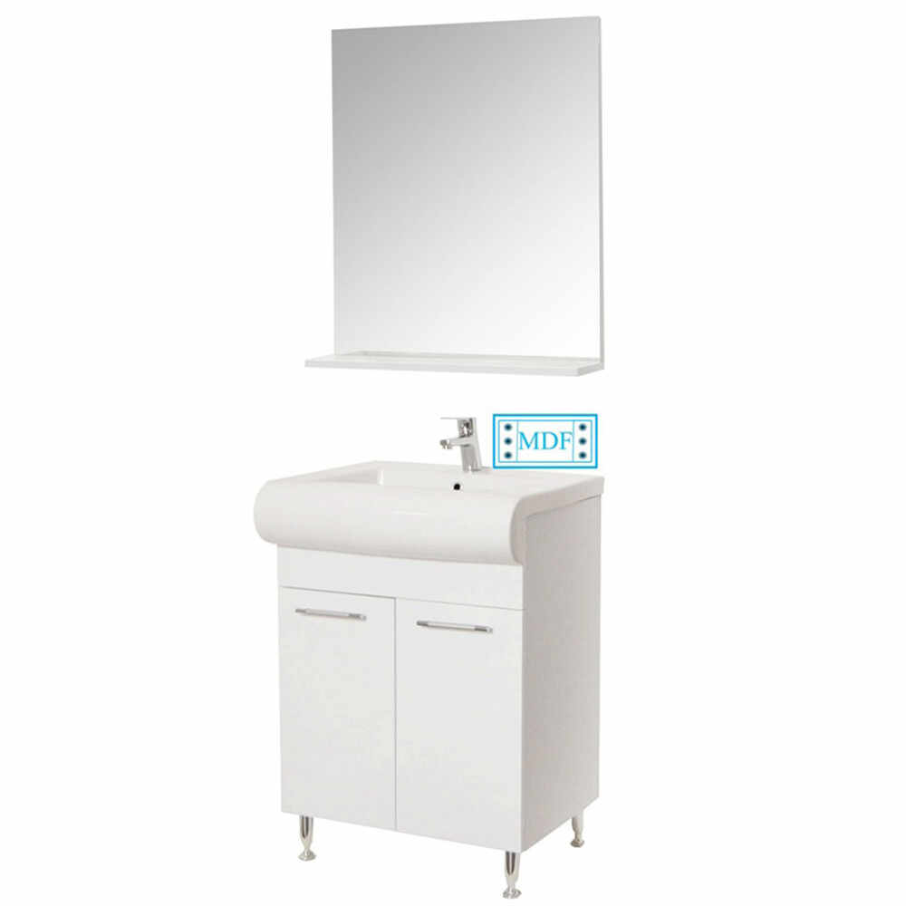 Set Baza, lavoar baie GN0551 si oglinda GN0551 - 60 cm alb la pret 554.8 lei