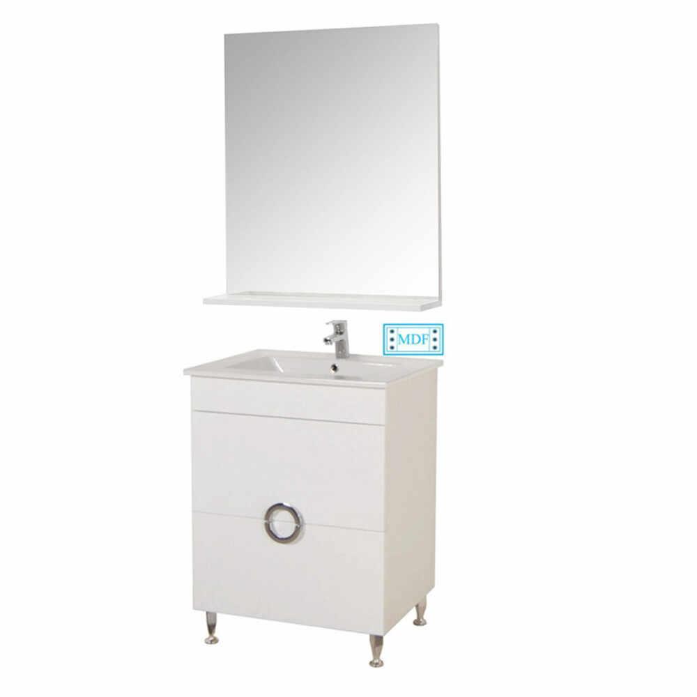 Set Baza, lavoar baie GN0811 cu sertare si oglinda GN0551 - 60 cm alb la pret 796.1 lei