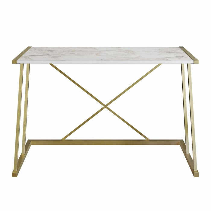 Birou Charie, lemn/metal, alb/auriu, 75 x 120 x 60 cm la pret 715 lei