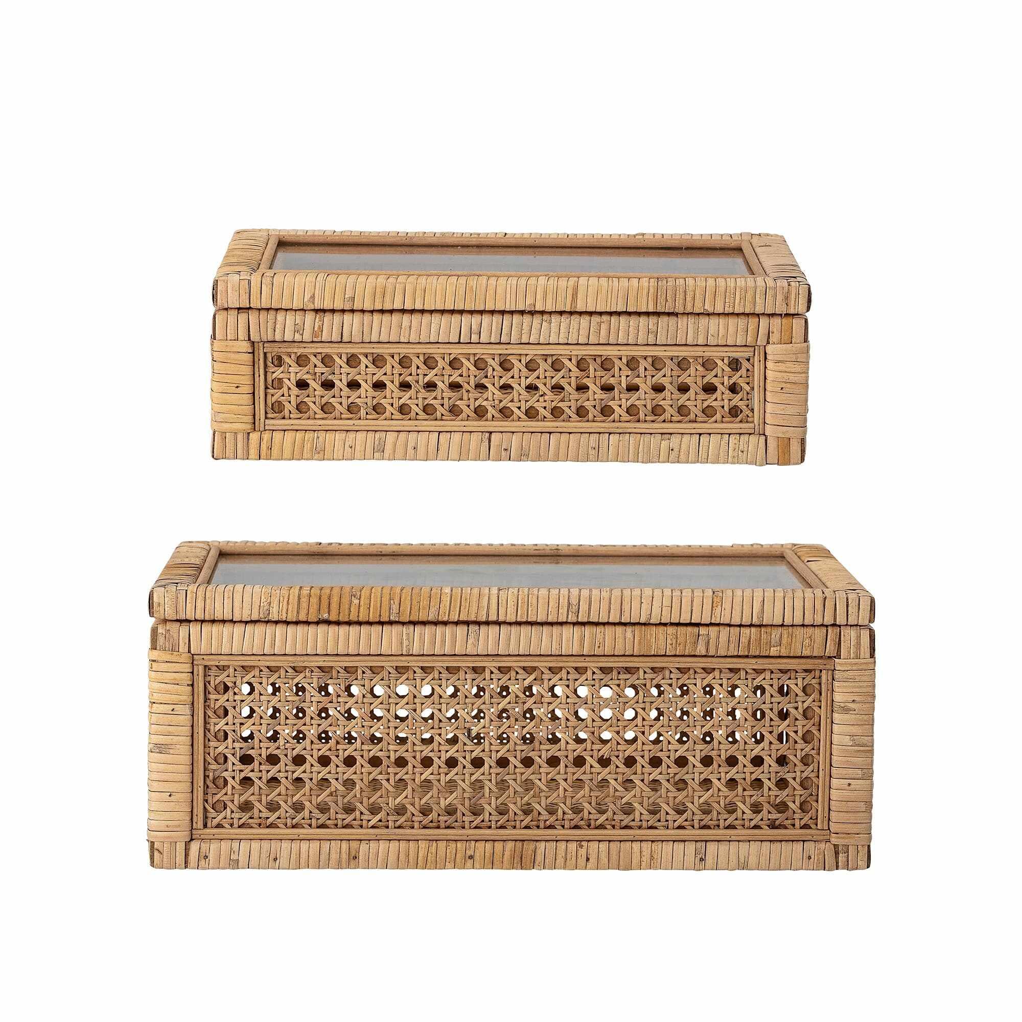 Set 2 cutii pentru depozitare cu capac din ratan, Lally Natur, l32xA17xH9 cm / l39xA24xH15,5 cm la pret 568 lei