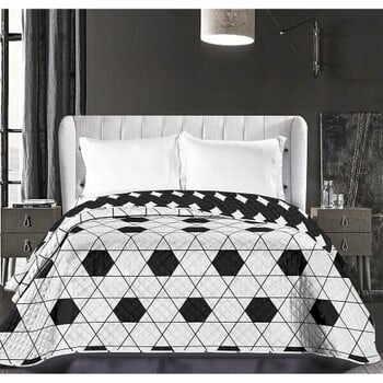 Cuvertură reversibilă din microfibră DecoKing Hypnosis Harmony, 240 x 260 cm, alb-negru la pret 213 lei