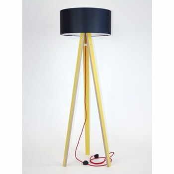 Lampadar cu abajur negru și cablu roșu Ragaba Wanda, galben la pret 848 lei
