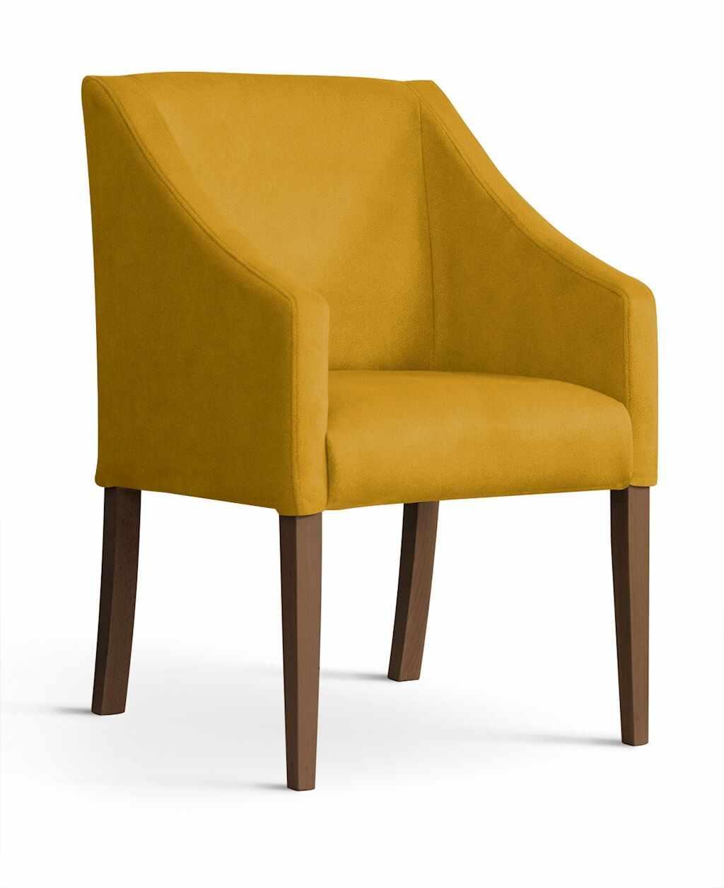 Fotoliu fix tapitat cu stofa si picioare din lemn Capri Velvet Mustariu / Nuc, l58xA60xH89 cm la pret 779 lei