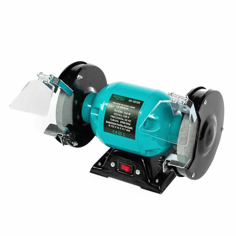 Polizor de banc Detoolz, 250 W, 6 inch, 2950 RPM, disc 150 mm, motor electric la pret 179 lei
