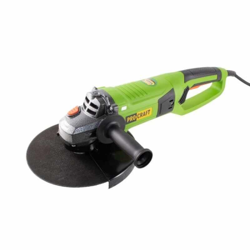 Polizor unghiular Procraft PW, 2550 W, 6500 rpm, panza 230 mm, pornire lenta, maner 180 grade la pret 252 lei