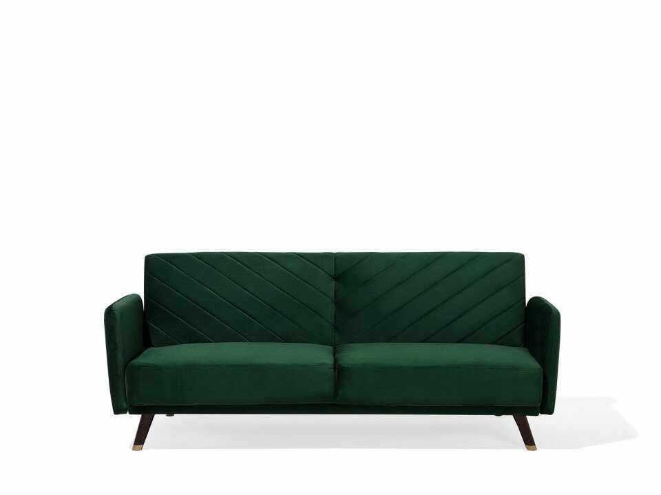 Canapea extensibilă SENJA, catifea, verde, 87 x 200 x 95 cm la pret 1953.75 lei