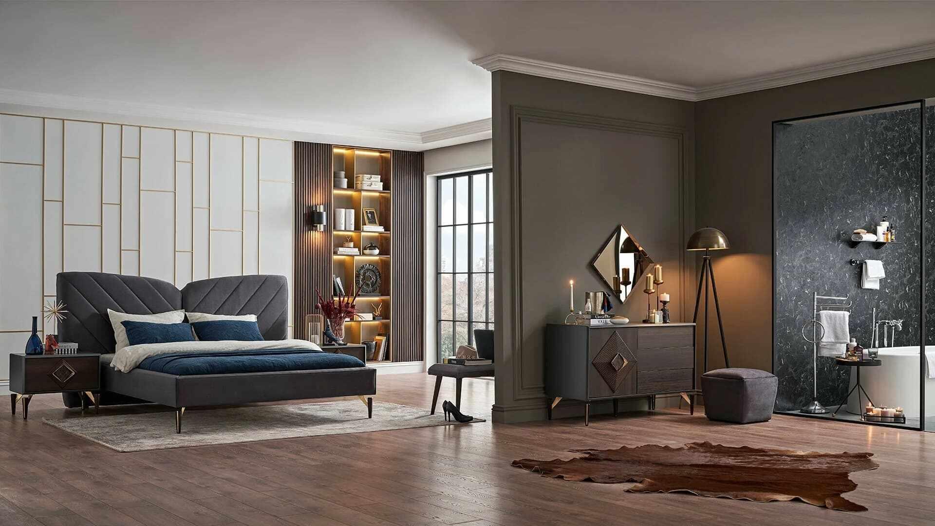 Set Mobila Dormitor din MDF si pal, cu pat 200 x 180 cm, 4 piese Valentin Wide Velvet Gri / Nuc la pret 7485 lei