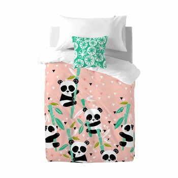 Lenjerie de pat din bumbac pentru copii Moshi Moshi Panda Garden, 140 x 200 cm la pret 205 lei