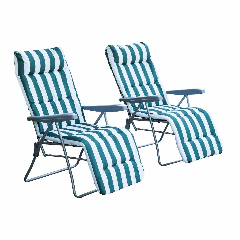 Outsunny Set 2 Scaune Șezlong de Grădină, pentru Plajă cu Brațe Reclinabile, alb și verde la pret 559.99 lei
