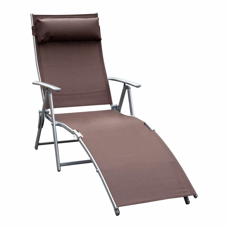 Outsunny Sezlong Prendisole Relax Rabatabil Pliabil Schelet in Metal 137x63.5x100.5cm Maro la pret 459.99 lei