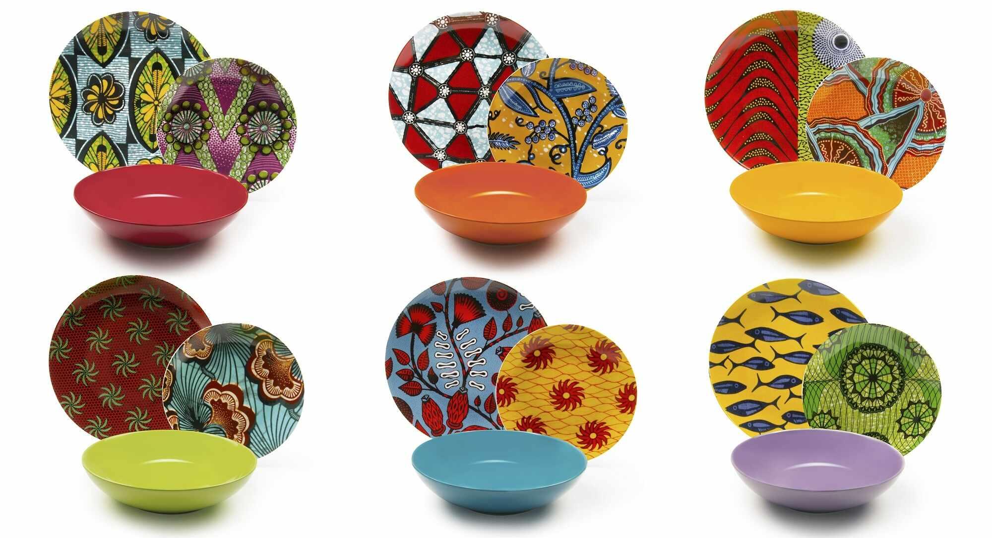 Set vesela din portelan si ceramica, 18 piese, Afrika Dinner Multicolor la pret 467 lei