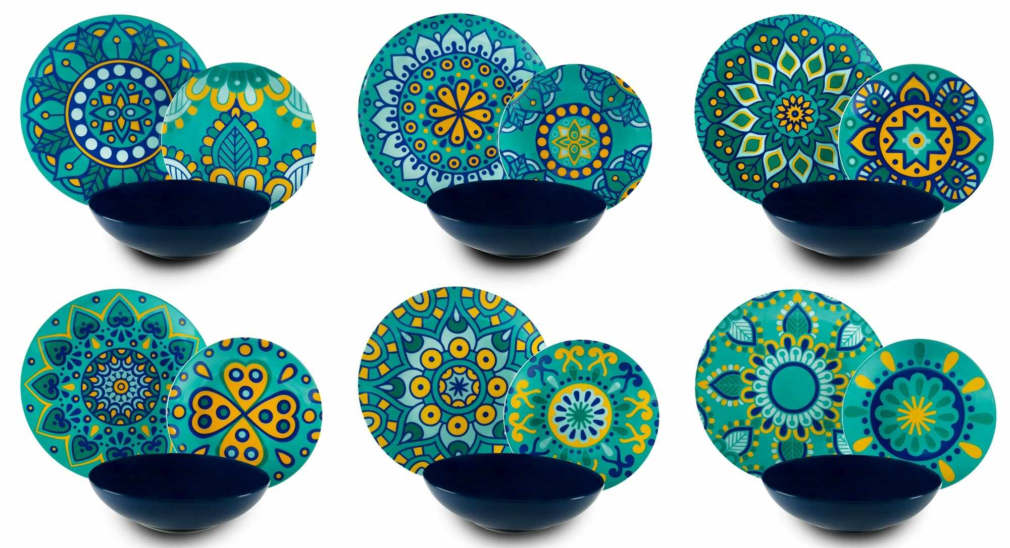 Set vesela din portelan si ceramica, 18 piese, Mandala Mediterraneo Dinner Turcoaz / Albastru la pret 467 lei