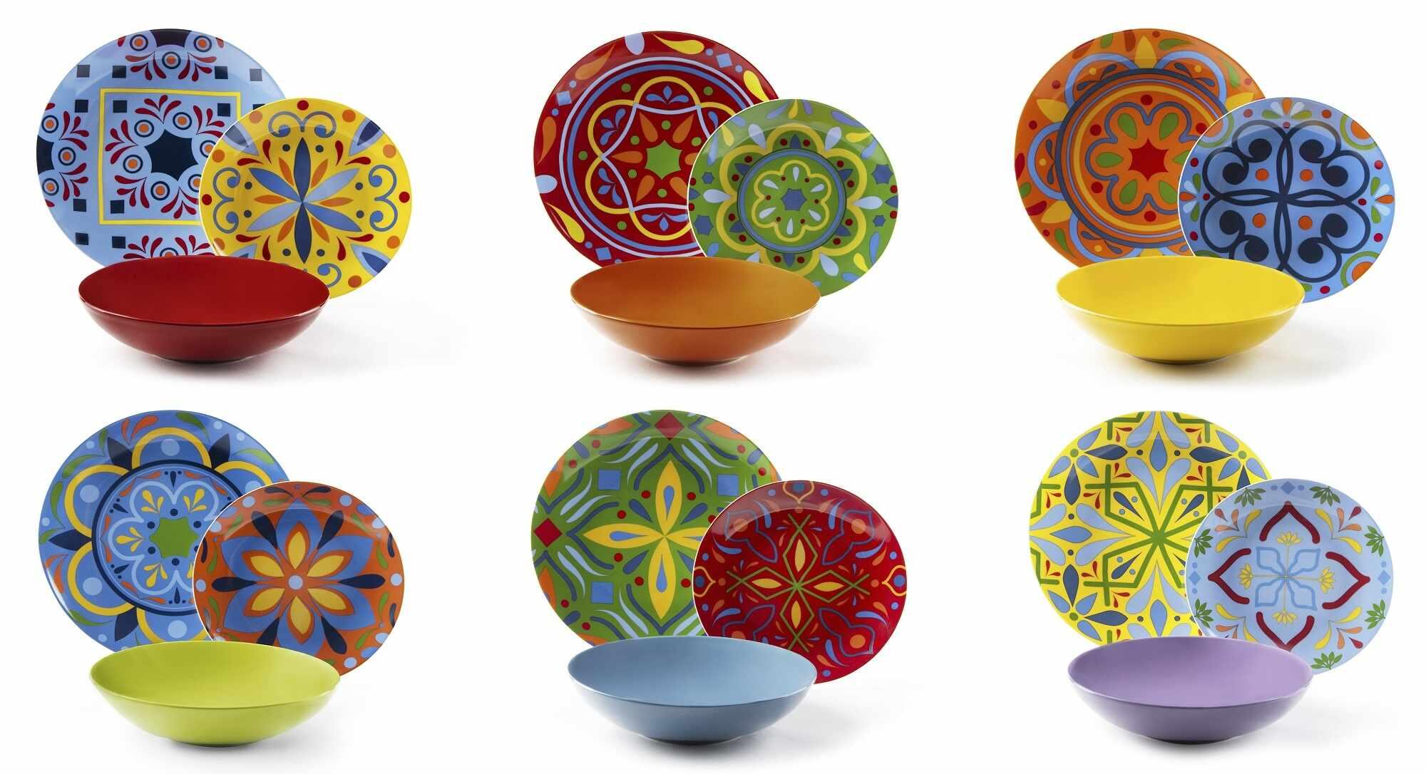 Set vesela din portelan si ceramica, 18 piese, Puebla Dinner Multicolor la pret 471 lei