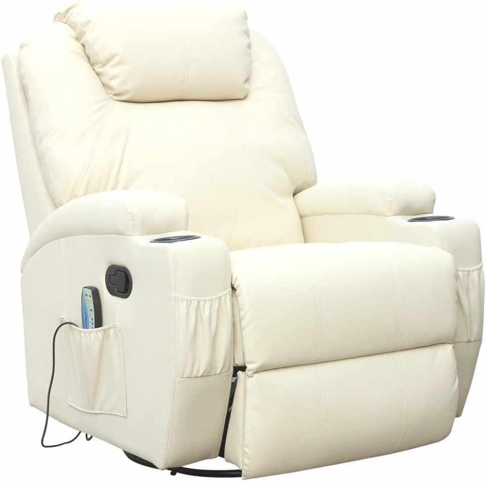 Fotoliu recliner Cinemo, cu masaj, incalzire, rotativ si cu suport pentru bauturi, piele naturala, crem la pret 2500 lei