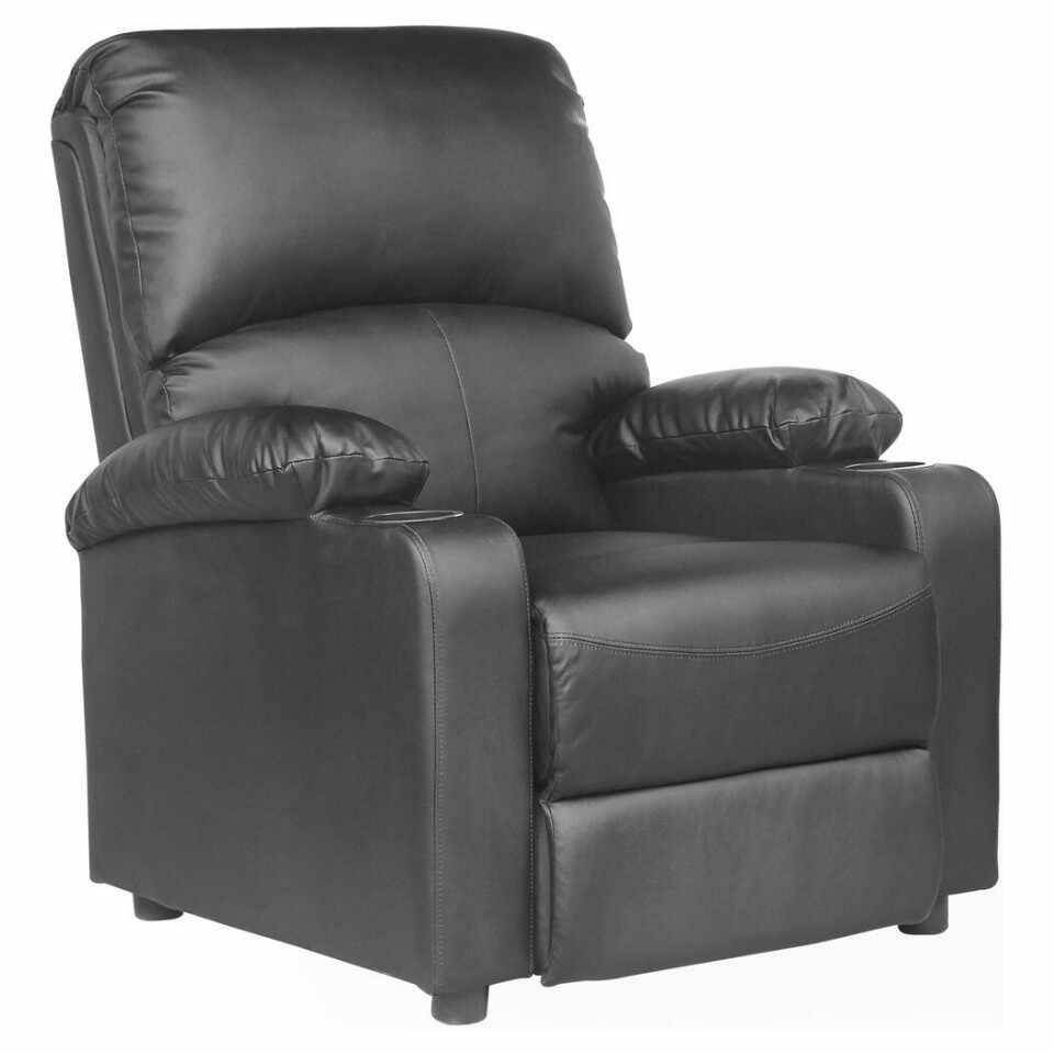 Fotoliu recliner Kino, cu suport pentru bauturi, piele naturala negru la pret 1750 lei