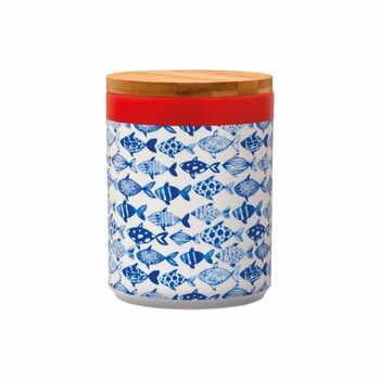 Recipient din porțelan cu capac din bambus Remember Fish, 1,25 l la pret 160 lei