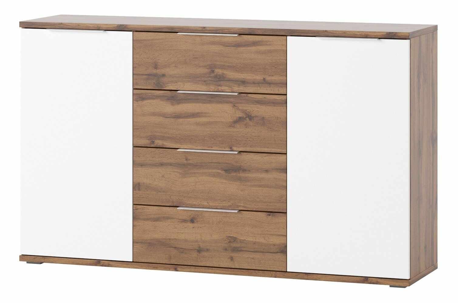 Comoda cu 4 sertare si 2 usi Livorno 45 Oak / White, l150xA38xH90 cm la pret 1738 lei