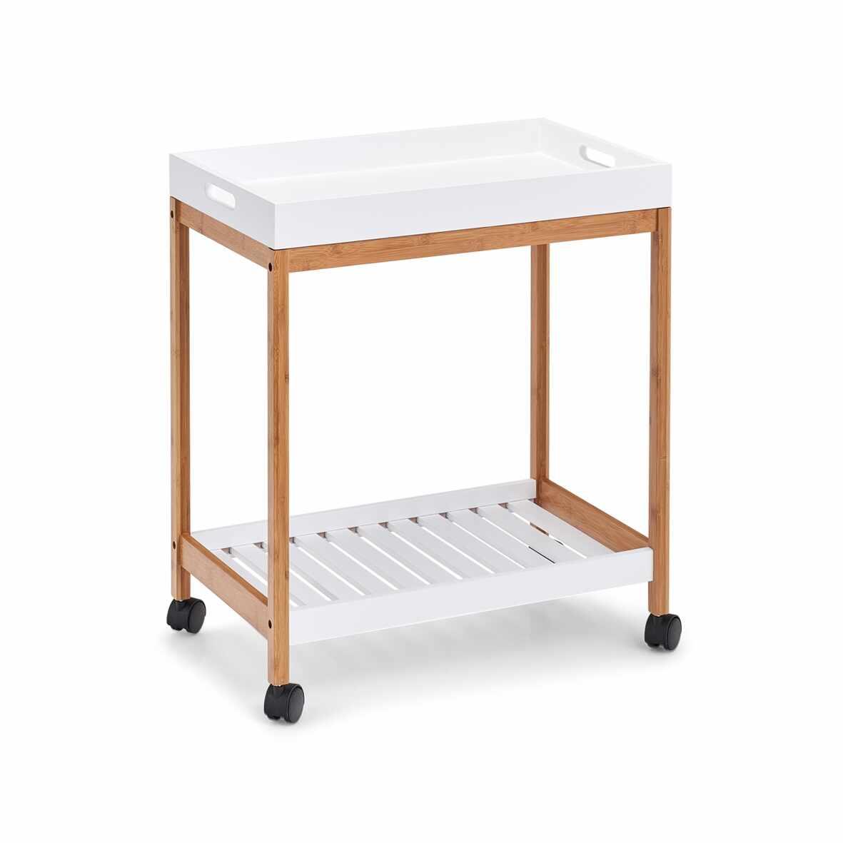 Masa minibar mobila Tray, Bamboo MDF Alb / Natural, L55xl34xH62 cm la pret 239 lei