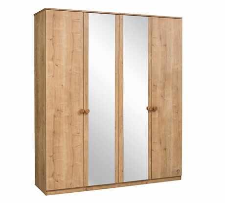 Dulap din pal cu 4 usi si oglinda, pentru tineret Mocha Nature, l183xA56xH210 cm la pret 3232 lei