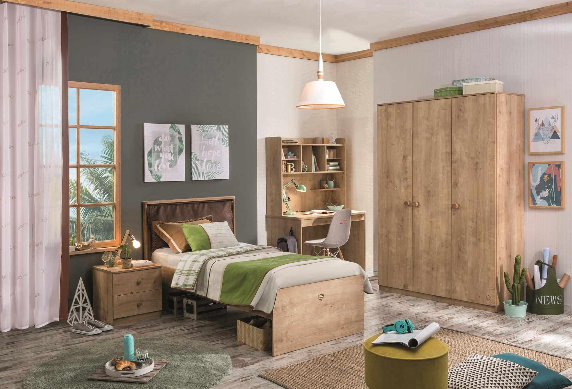 Set Mobila dormitor din pal, pentru tineret 5 piese Mocha Nature la pret 5311 lei