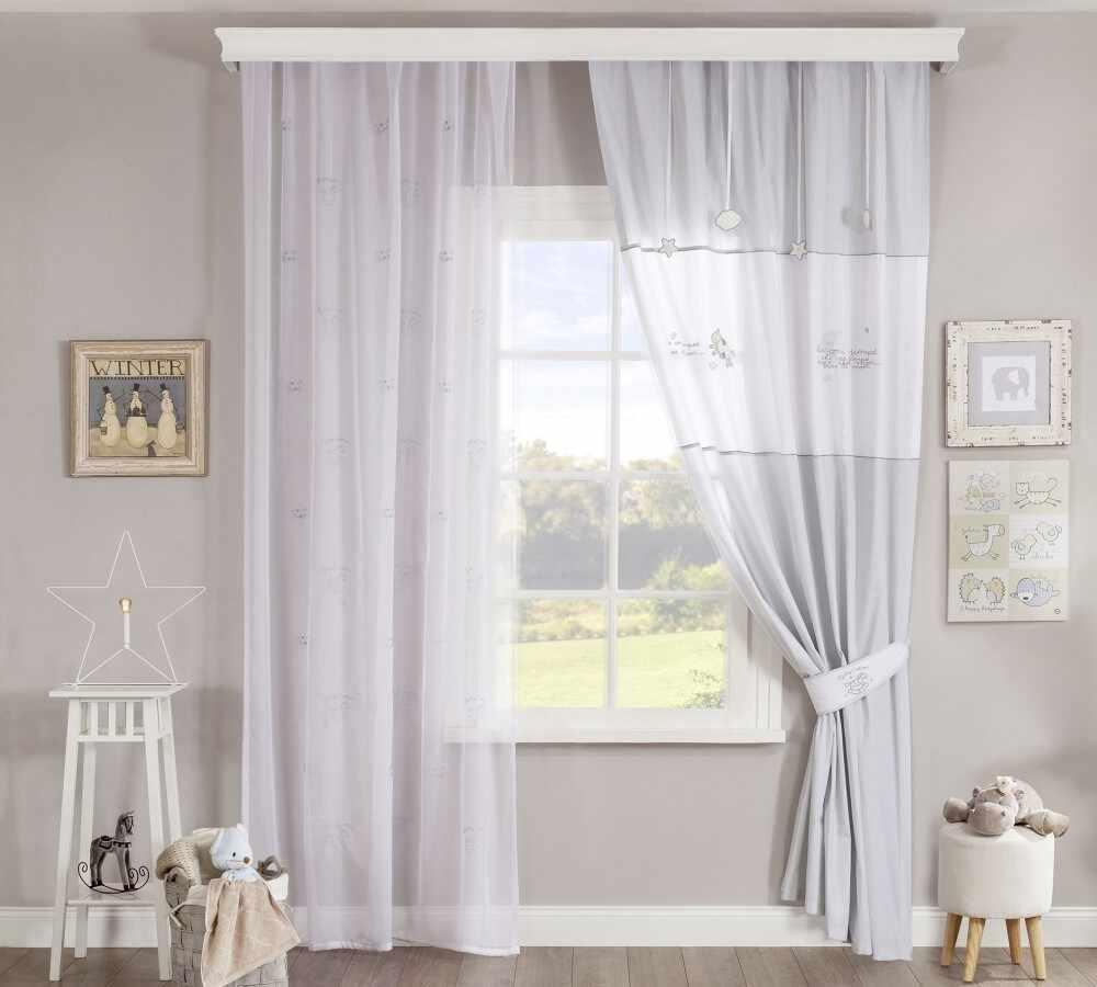 Set perdea si draperie pentru copii Baby Cotton White / Light Grey la pret 279 lei