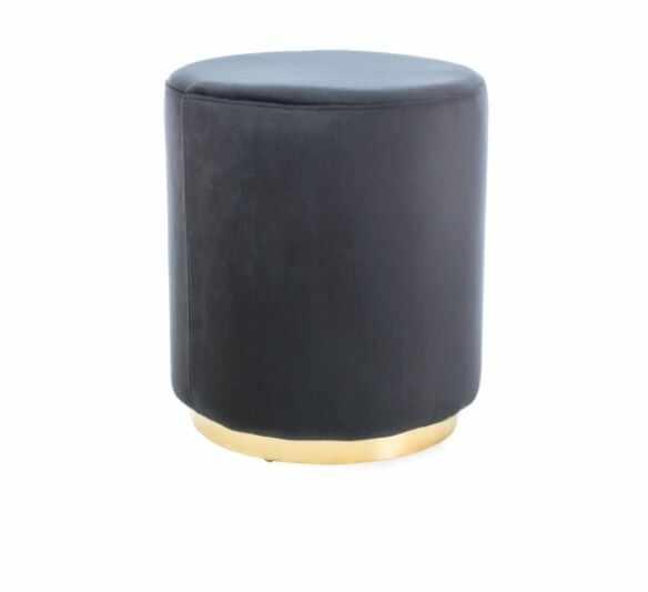Taburet tapitat cu stofa Furla Gold Black, Ø 42xH48 cm la pret 381 lei
